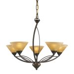 "Elysburg Collection 5-Light 28"" Aged Bronze Chandelier with Tea Stained Brown Swirl Glass 7647/5"