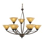 "Elysburg Collection 9-Light 34"" Aged Bronze Chandelier with Tea Stained Brown Swirl Glass 7648/6+3"