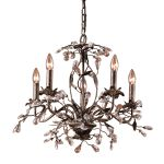 "Circeo Collection 5-Light 21"" Deep Rust Floral Chandelier with Crystal 8053/5"