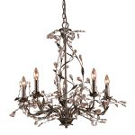 "Circeo Collection 5-Light 28"" Deep Rust Floral Chandelier with Crystal 8054/5"