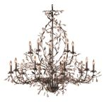 "Circeo Collection 15-Light 54"" Deep Rust Floral Foyer Chandelier with Crystal 8056/10+5"
