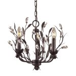 "Circeo Collection 3-Light 16"" Deep Rust Floral Mini Chandelier with Crystal 8058/3"