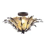 "Circeo Collection 2-Light 24"" Deep Rust Floral Semi-Flush Mount with Crystal 8059/2"