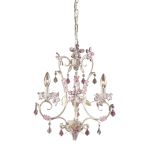 "Elise Collection 3-Light 19"" Antique White Mini Chandelier with Crystal Accents 9100/3"