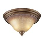 "Lawrenceville Collection 2-Light 16"" Mocha Flush Mount with Antique Amber Glass 9319/2"