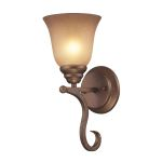 "Lawrenceville Collection 1-Light 13"" Mocha Wall Sconce with Antique Amber Glass 9320/1"