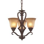 "Lawrenceville Collection 3-Light 17"" Mocha Mini Chandelier with Antique Amber Glass 9326/3"