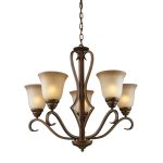 "Lawrenceville Collection 5-Light 26"" Mocha Chandelier with Antique Amber Glass 9328/5"