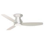 "Curva Sky Collection 52"" Brushed Steel Ceiling Fan with All-Weather Brushed Steel Blades and Opal Matte Light Kit CF152BS"