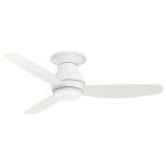 "Curva Sky Collection 52"" Appliance White Ceiling Fan with All-Weather Appliance White Blades and Opal Matte Light Kit CF152WW"