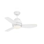 "Curva Collection 44"" Appliance White Ceiling Fan with All-Weather Appliance White Blades and Opal Matte Light Kit CF244WW"