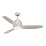 "Curva Collection 52"" Brushed Steel Ceiling Fan with All-Weather Brushed Steel Blades and Opal Matte Light Kit CF252BS"