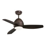 "Curva Collection 52"" Oil Rubbed Bronze Indoor/Outdoor Ceiling Fan with All-Weather Blades and Opal Matte Light Kit CF252ORB"