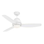 "Curva Collection 52"" Appliance White Ceiling Fan with All-Weather Appliance White Blades and Opal Matte Light Kit CF252WW"