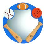 "Lite Source Kids Collection 21"" Solid Wood All Sports Round Mirror 16AS20"