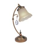 "Darcy Collection 1-Light 19"" Brushed Copper Table Lamp with Amber Glass Shade C41201"