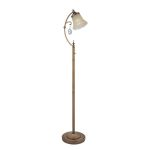 "Darcy Collection 1-Light 60"" Brushed Copper Floor Lamp with Amber Glass C61201"