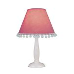"Lite Source Kids PomPom Collection 1-Light 14"" White Wood Table Lamp with Pink Fabric Pompom Shade IK-6098PINK"