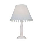 "Lite Source Kids PomPom Collection 1-Light 14"" White Wood Table Lamp with White Fabric Pompom Shade IK-6098WHT"