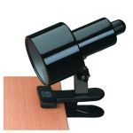 "Clip-On-Lite Collection 1-Light 8"" Black Metal Clip-On Lamp with Black Shade LS-112 BLK"