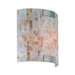 "Schale Collection 1-Light 8"" Mosaic Shell Wall Sconce with Polished Steel Accents LS-16381"