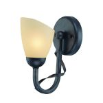 "Wavia Collection 1-light 10"" Antique Gold Bronze Wall Sconce with Light Amber Glass Shade LS-16571"