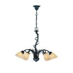 "Wavia Collection 5-light 158"" Antique Gold Bronze Chandelier with Light Amber Glass Shades LS-18570"