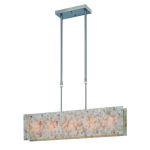 "Schale Collection 5-Light 41"" Polished Steel Island Light with Mosaic Shell Shade LS-19385"