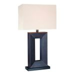 "Marco Collection 1-Light 28"" Leather Wrapped Table Lamp with Off-White Fabric Shade LS-20325"