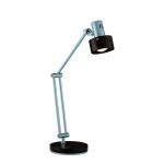"Duccio Collection 1-Light 23"" Silver Metal Desk Lamp with Dark Walnut Wood Ring Shade LS-21091"