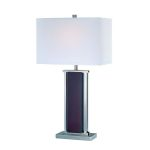 "Rektor Collection 1-Light 26"" Polished Steel and Walnut Wood Table Lamp with Off-White Fabric Shade LS-21118"