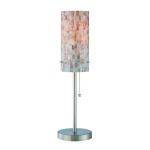 "Schale Collection 1-Light 22"" Polished Steel Table Lamp with Shell Shade LS-21381"