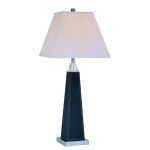 "Edena Collection 1-Light 31"" Black Leather Wrapped Table Lamp with Off-White Fabric Shade LS-21497"