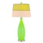 "Gillespie Collection 1-Light 37"" Light Green Glass Table Lamp with Two-Tone Banded Fabric Shade LS-21500L/GRN"