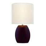 "Reiko Collection 1-Light 17"" Coffee Ceramic Table Lamp with Off-White Elliptical Fabric Shade LS-21506COFFEE"