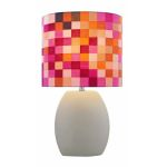 "Reiko Collection 1-Light 17"" Latte Ceramic Table Lamp with Matching Elliptical Fabric Shade LS-21506LATTE"