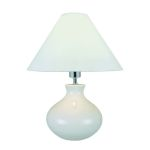 "Chakra Collection 1-Light 17"" White Ceramic Table Lamp with White Fabric Shade LS-21647"
