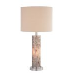 "Schale II Collection 2-Light 29"" Polished Steel/ Shell Table Lamp with Fabric Shade LS-21772"