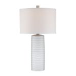 "Lorelei Collection 24"" Ceramic Table Lamp with Off-White Fabric Shade LS-21979WHT"