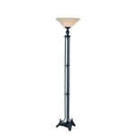 "Zadanie Collection 1-Light 71"" Dark Bronze Torchiere Lamp with Light Amber Faux Alabaster Glass Shade LS-81393D/BRZ"