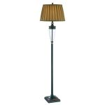 "Fergal Collection 1-Light 32"" Dark Bronze/ Clear Glass Table Lamp with Tan Pleated Fabric Shade LS-81415"