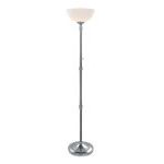 "Newton Collection 69"" 1-Light Polished Steel Torchiere Lamp LS-82194"