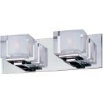"Cubic Collection 2-Light 14"" Polished Chrome Vanity with Clear Glass 10002CLPC"