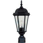 "Westlake Collection 1-Light 19"" Black Outdoor Pier/Post Mount with Clear Glass 1001BK"