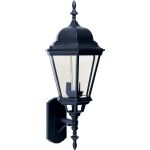 "Westlake Collection 3-Light 28"" Black Outdoor Wall Light with Clear Glass 1006BK"
