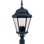 "Westlake Collection 3-Light 28"" Black Outdoor Pier/Post Mount with Clear Glass 1007BK"