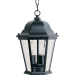 "Westlake Collection 3-Light 14"" Black Outdoor Hanging Light with Clear Glass 1009BK"