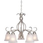 "Basix Collection 5-Light 21"" Satin Nickel Chandelier with Ice Glass 10124ICSN"