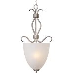 "Basix Collection 2-Light 25"" Satin Nickel Foyer Pendant with Ice Glass 10130ICSN"
