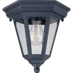 "Westlake Collection 1-Light 9"" Black Outdoor Ceiling Light with Clear Glass 1027BK"